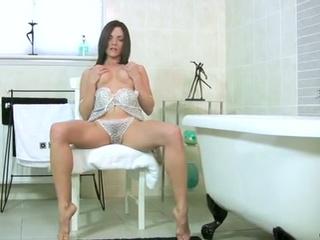 Busty milf bathroom fingering !