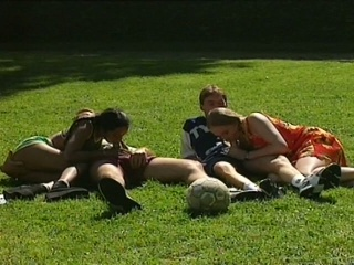 Hot foursome with two young babes in the park