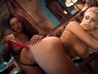 Intense lesbian threesome with dildo play