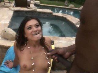 Dirty cuckold licks spunk off Cece Stone's tits