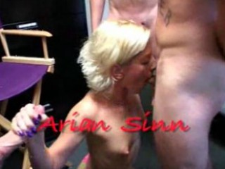 Arian Sinn sucking three lucky dicks
