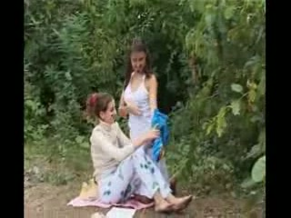 princess amateurs playing in the forest