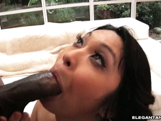Mika Tan eat off a hard black cock of a hunky dude