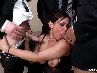 Sexy slut Tory Lane gobbles down these horny cocks