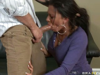 Rachel Starr gets a rough face fuck from a thick, hard cock