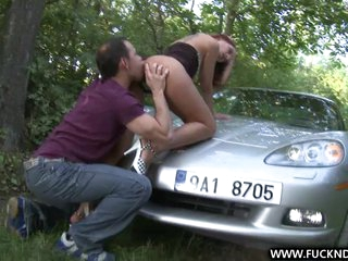 A Lucky Stranger shagging deep on car bonnet