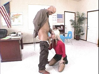 Blonde babe Christine Alexis gets her mouth fucked by some monster meat