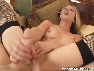 After a long hand job, Zoe Mathews screws her tiny pussy on a massive dick