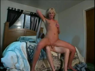 Shaved blonde nailed in her bed
