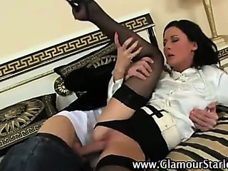 Hot stockinged slut fucked