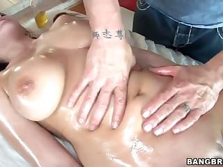 Big titty Natasha Nice gets humped after massage