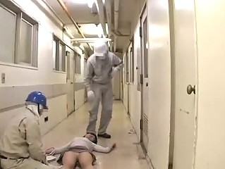 Unconscious Office Lady Rapped Fucked By 2 Cleaners On The Floor At The Corridor