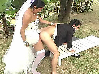 Amazing wedding with a shemale bride bound to have hawt a-hole-fucking finale