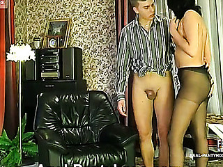 Lusty sweetheart in lacy hose giving footjob previous to maddest booty-ramming