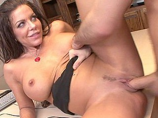 Victoria Valentino plays the part of the hawt boss in the business suit with her humongous breasts just trying to burst free from the confines of her formal attire, then getting it on with the hired aid, a well hung James Deen who makes her moan as this chab ploughs her cookie from each conceivable position.
