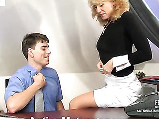 Heated aged gal in tan nylons ready for dick onslaught right in office