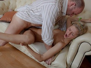 Old pervert can't live without juvenile blonds. That Guy slowly permeates Elisa's cunt and watches her getting orgasm.