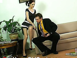 Cute girlie giving sexy footjob encouraging older male for hardcore finale