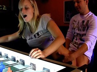There`s lots of games in this arcade section of the club. There`s movie games, there`s a pinball machine too. Those two nubiles were playing an sinless game of pinball, however it pretty soon turned into smth much more x-rated. Right in the middle of the place, they start ripping off each others clothing. They`re so horny that they don`t even watch the other people around 'em. However, they definitely watch 'em. They`re all turning and looking now. They can`t make no doubt of what those two horny nubiles are doing out in the wide open.