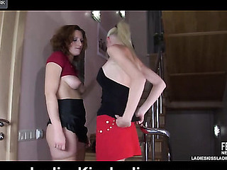 Lewd next-door hotties getting to necking and muff-diving right on the stairs