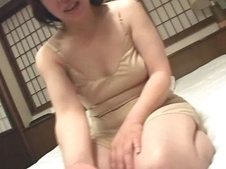 Married old Asian granny is blindfolded as she masturbates her censored twat
