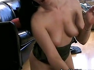 Brunette babe smoking while getting fucked