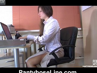 Freaky secretary getting her black hose ripped by her impatient boss