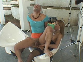 Nasty shemale is ready to impale tasty butt of her dude-slut day and night