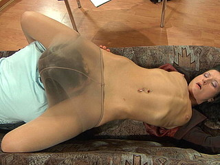 Sexy business lady gives a guy a smack of her older box clad in hose