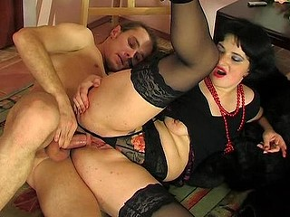 Sex-eager chick getting her butthole licked and pumped right on the floor
