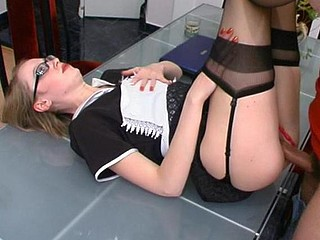 Sexy French maid in stylish nylons getting her love tunnel permeated unfathomable and hard