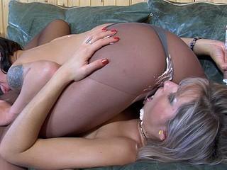 Slender vixens in sheer control top hose use whipped cream in their lez play