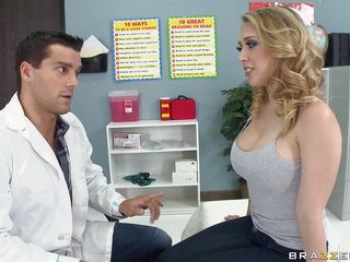 Kagney Linn Karter went to the school nurse for pains in her chest. She wants a doctor's note, but it's really just to get out of school. When nurse Ramon examines her, it starts to feel really good. She wants more, so he gives more, squeezing and sucking those big tits.
