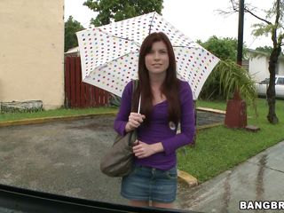 Cute redhead with an umbrella, is being picked up in the Bang Bus. In which positions will she fucked and with how many guys? Will her pretty face be covered in semen or she will have cum on other parts of her body.