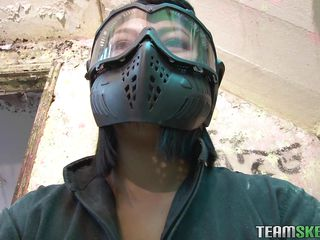 A match of paintball soon turned into a wild fuck. The brunette milf Sandra wanted action and now she got it. After she got defeated and this game she needs to give the guy his prize and that is her sexy body and hat sweet pussy between her thighs. He just loves eating her cunt and making her enjoy the defeat