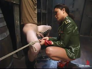 She doesn't allow insubordination and because of that this guys is now tied and punished. Annie just added clothespins on his thighs, right there on those sensitive areas and now taunts his erect cock, perhaps she will use her red high heels to teach him a lesson hard to forget, as hard as his dick!