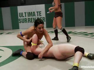 Naked bitches are wrestling for some pussy domination. A slut holds one girl to the ground so that she can have her cunt licked or fingered by other whore. This is true team battle! They`re won the fight and now get to dominate the other bitches. One makes the other suck her foot, then sticks it in her pussy!