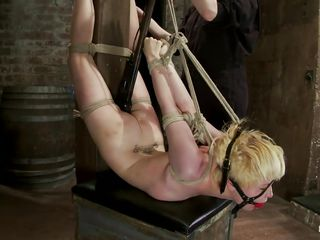 Alani is a milky white blonde with small tits and hot body, she 's tied up like a bad girl and receive a hard spank on her cum asking ass. That butt turns red from all the spanks and she is confused from so much pleasure and pain as she is tied up with nothing to say. Perhaps her pussy is wet now after she got punished and it's time for some big sex toys, maybe some vibrators will do the trick?