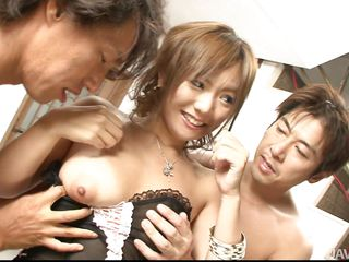Look at that pretty face, so innocent and girlish that you'll never think what a slut Mei is. Well this little Asian chick is actually a dirty whore and when is about fucking she turns on and for her, the more dick she gets the better. Mei is getting attention from these two dudes and they lick and rub her pussy