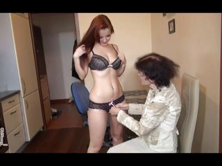 Veronica is very old and thin, her body is weak and her skin wrinkled but she still fucks like she used to! The fucking old whore likes a good hard fuck and puts her sweet redhead to strapon and fuck her saggy pussy. Veronica goes on top and rides the redhead before laying on the couch and enjoys the fuck