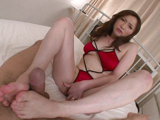She's a sexy cunt with big soft boobs perfect for a titjob. Miyama takes my cock between her tits and rubs it before standing up on her feet and gape that pussy for us. After showing what she has between her thighs the cunt lowers herself and inserts my cock in her vagina. Fucking whore needs some cum inside her