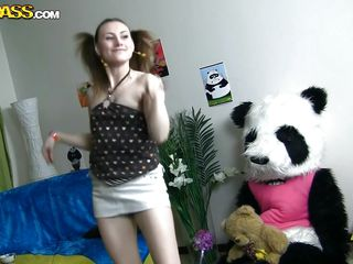 Seeing her dancing around made Panda join his girlish chick. They are having so much fun together but why not have even more? She takes a sit in panda's lap and then begins to undress. This is what Panda wanted to see from her and hugs her like a good girl that she is. Maybe he will fuck her pretty mouth too