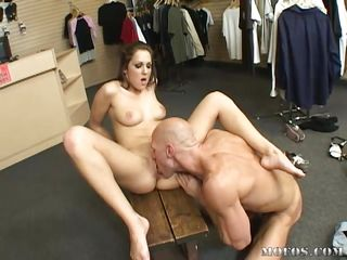Kiera King goes above and beyond customer service. After getting her young, tight pussy licked, she lays back on the bench and helps try on her customer's big cock, and it fits just right! She screams as he dicks her deep and hard