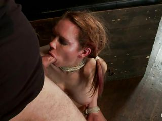 Those big boobs are looking hot as she is all tied up and receives the guy's cock deep in her throat while he pushes her head. She's a whore and deserves the humiliation and punishment this guy is giving her. Watch that fit body tied up and laying on the floor that makes this executor insanely horny, he won't let her get away so easily and after he brutally fucks that pretty mouth he pays attention to her vagina and rubs it with a vibrator, what will she endure next?