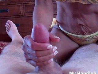 Jerked off by a hot milf