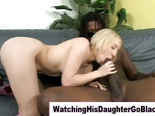 Interracial black guy sucked by white girl
